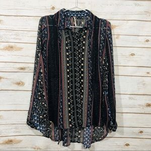 Free people women's long sleeve button down top